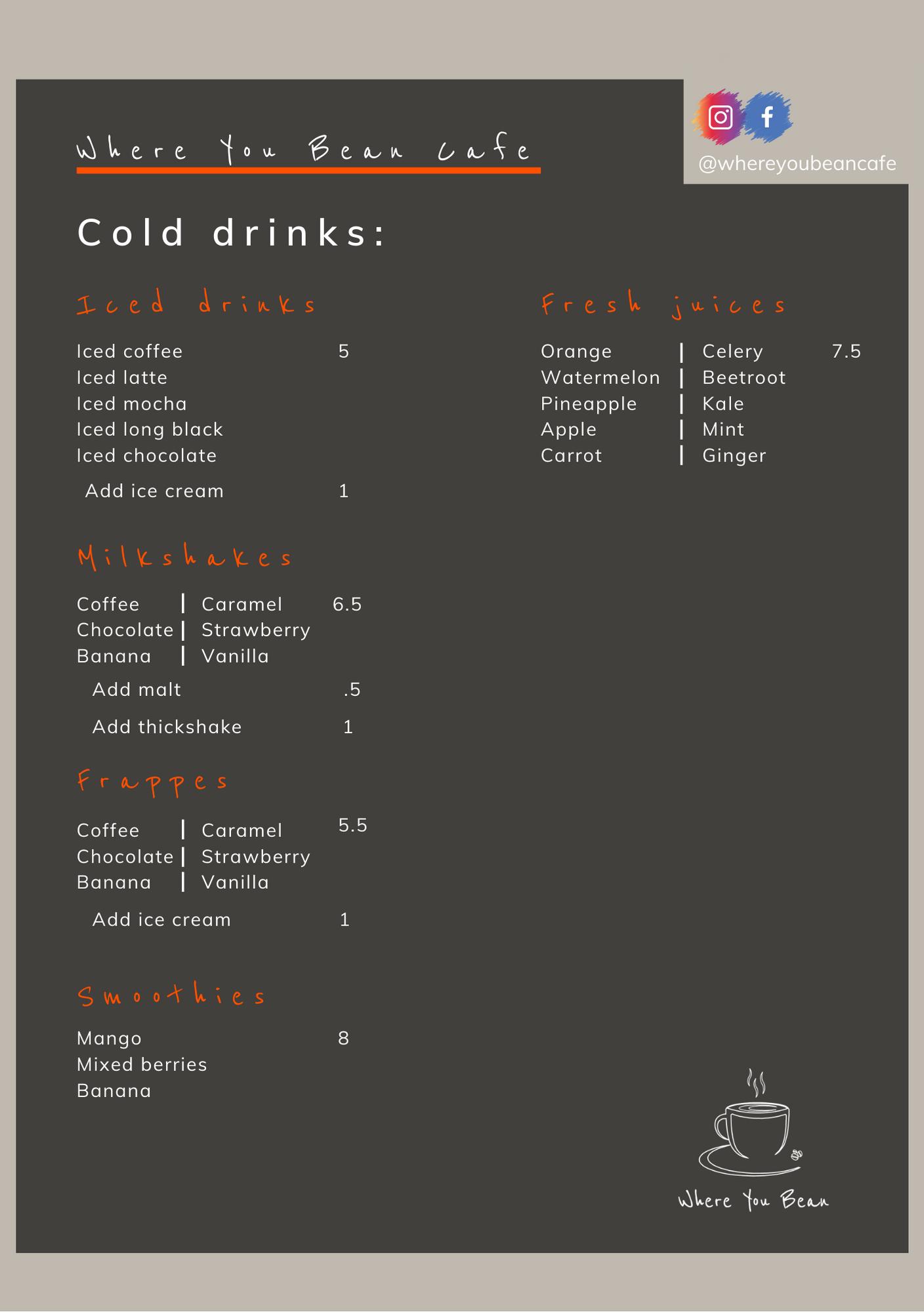where-you-bean-cafe-drinks-menu